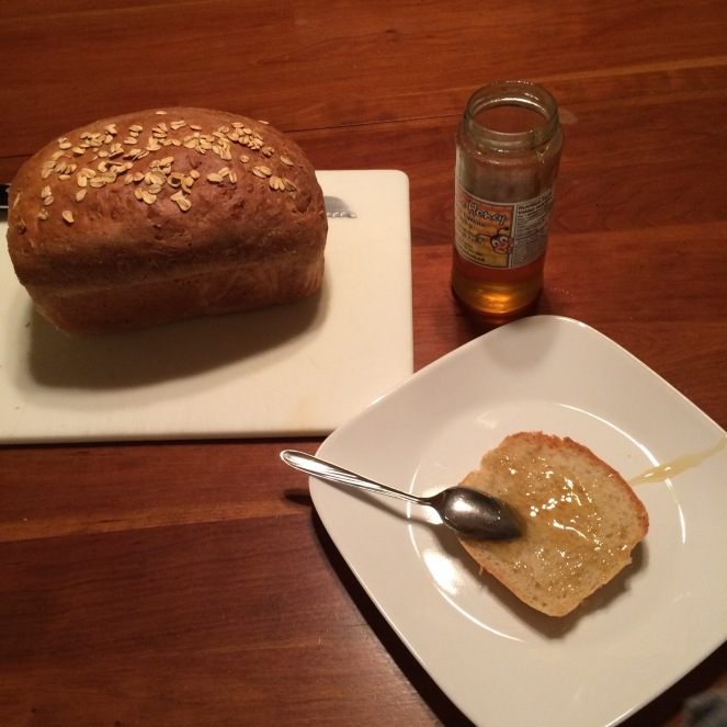 There is nothing better than homemade bread. Add oats and honey and you have a magic combination. Yum!